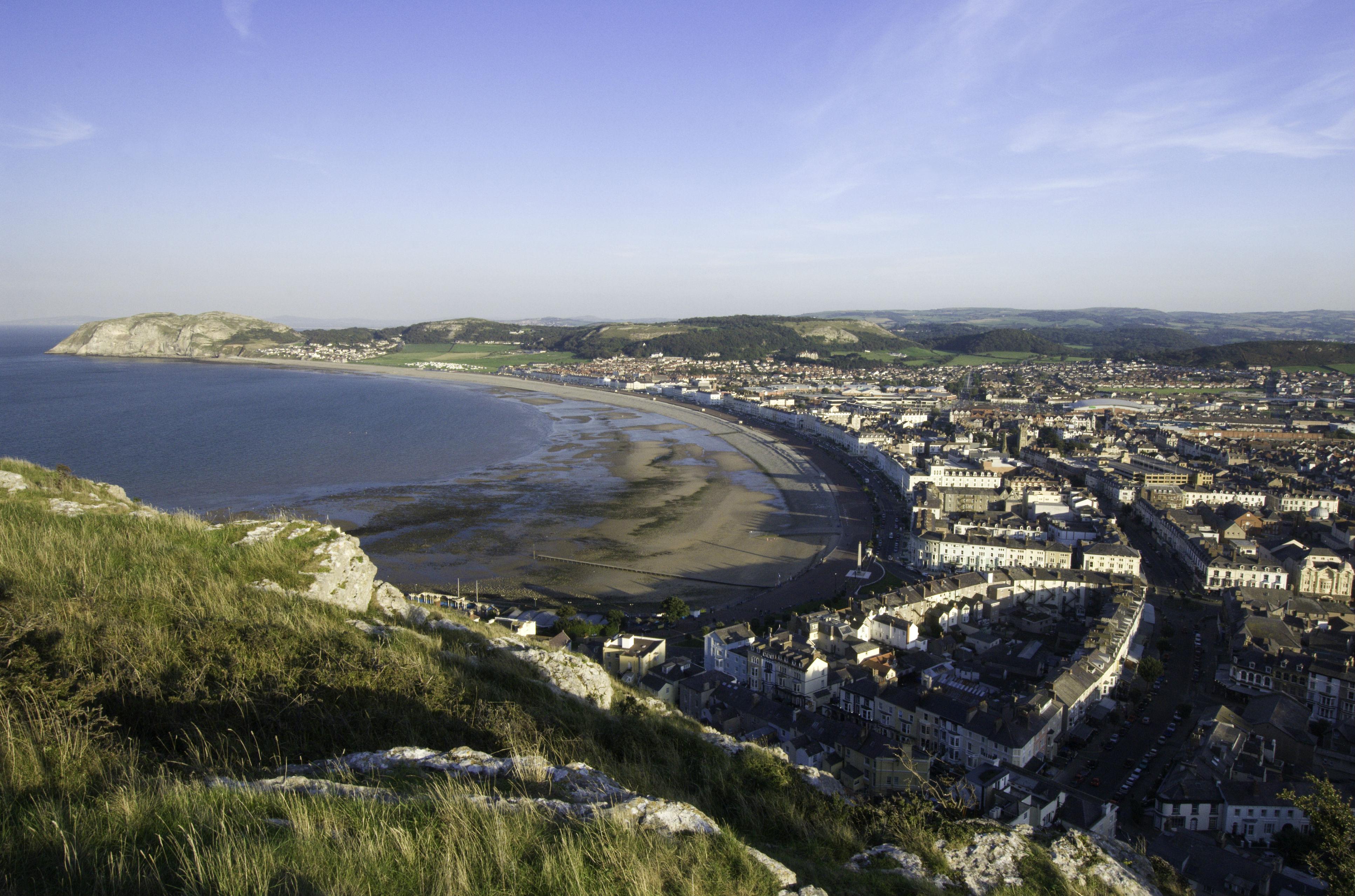 Llandudno ariel view coastal seaside town North Wales Coast