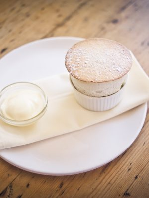 Rhubarb Souffle at Hare and Hounds Aberthin Vale of Glamorgan South Wales